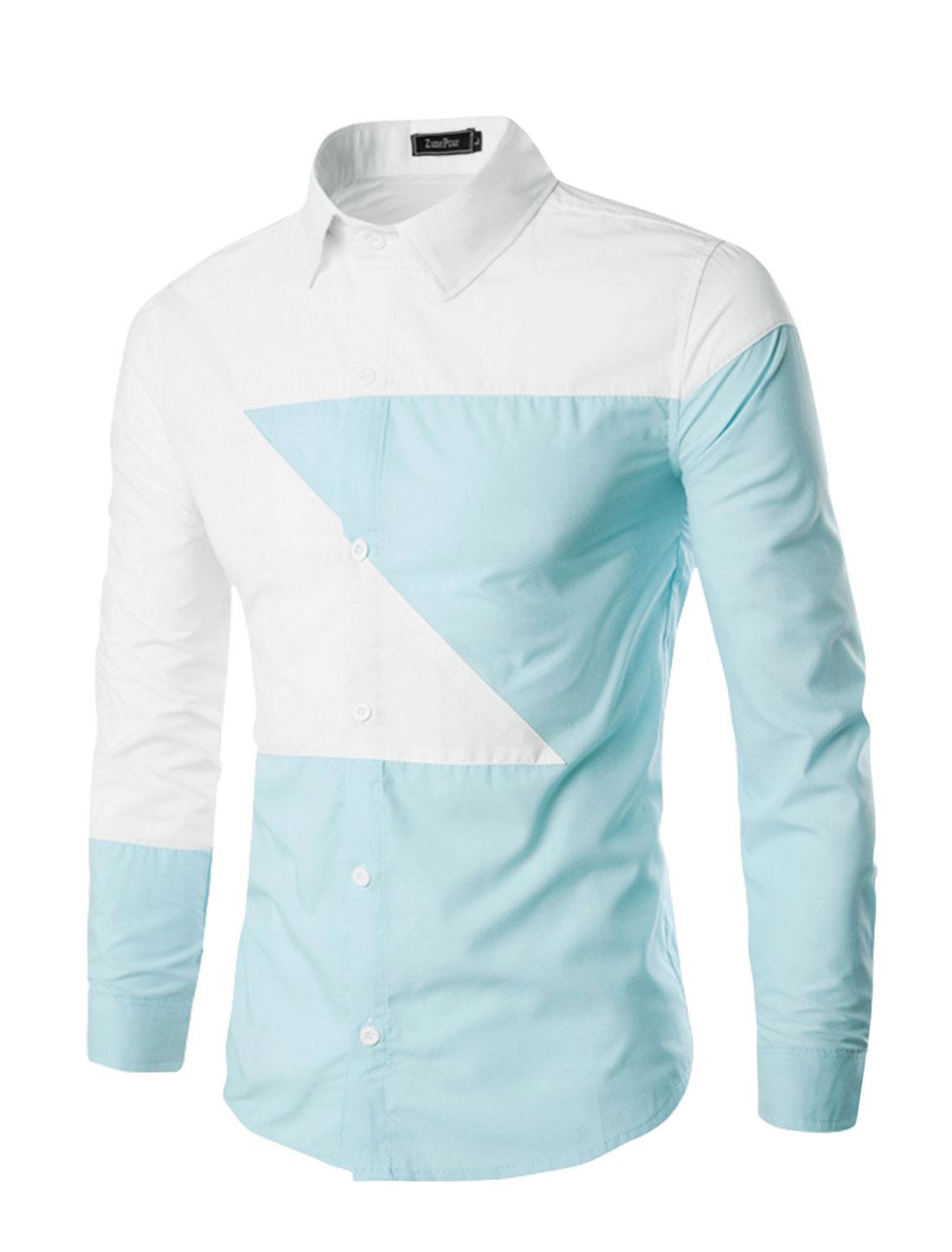 Men Long Sleeves Contrast Color Button Up Slim Fit Shirt Blue M