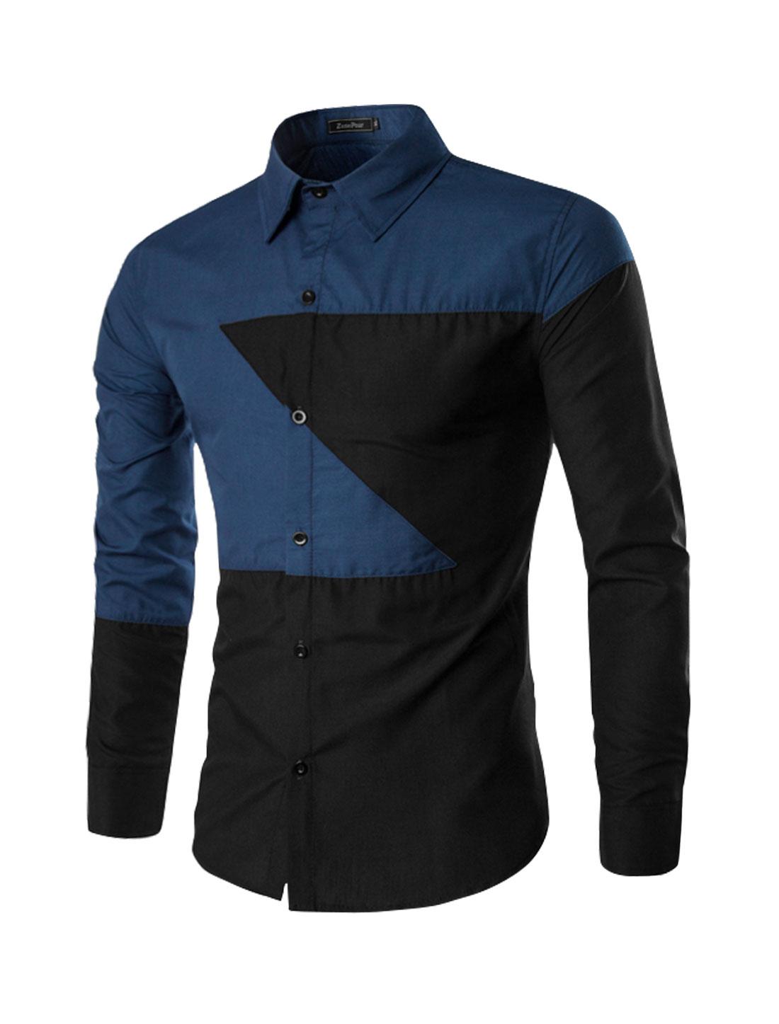 Men Long Sleeves Contrast Color Button Up Slim Fit Shirt Black M