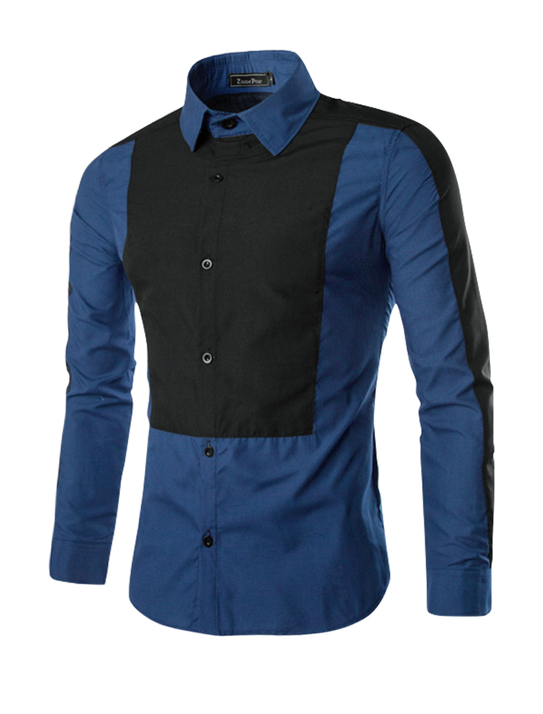 Men Long Sleeves Contrast Color Button Up Casual Shirt Navy Blue M