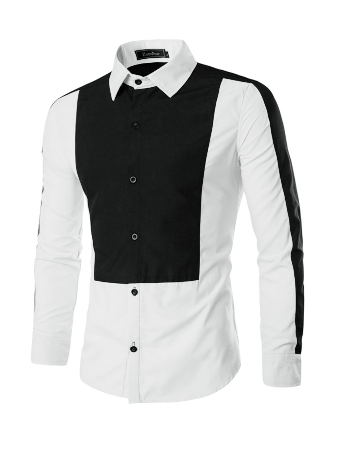 Men Long Sleeves Contrast Color Button Up Casual Shirt White M