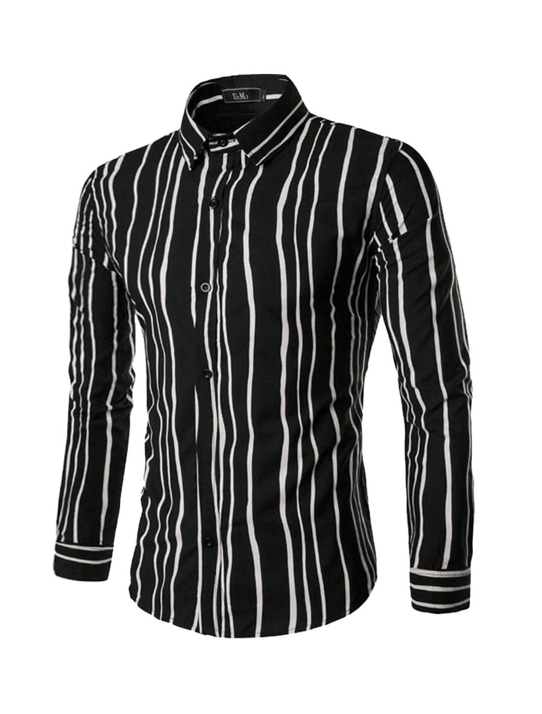 Men Long Sleeves Single Breasted Stripes Slim Fit Shirt Black M