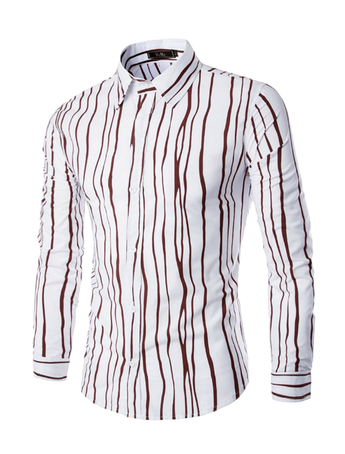 Men Long Sleeves Single Breasted Stripes Slim Fit Shirt Brown M
