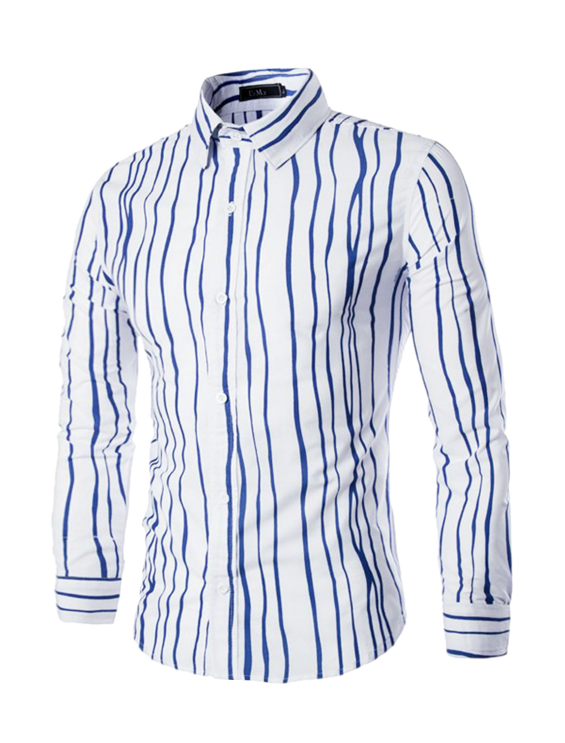 Men Long Sleeves Single Breasted Stripes Slim Fit Shirt Royal Blue M