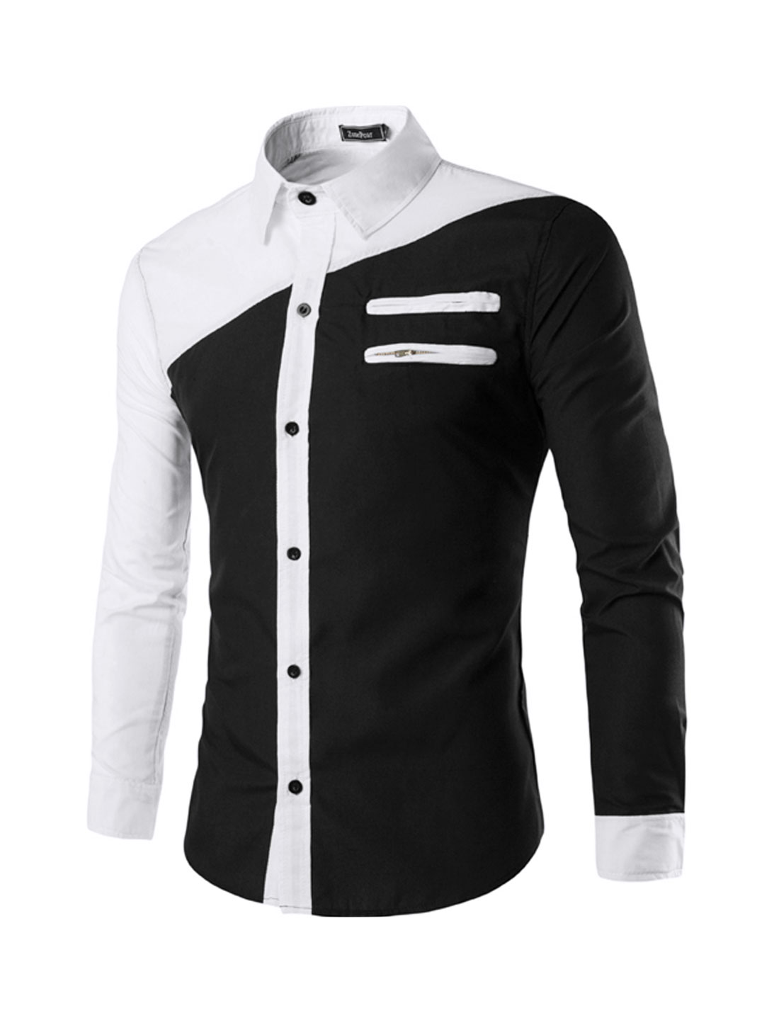 Men Zippered Mock Pockets Button Front Color Block Casual Shirt Black M