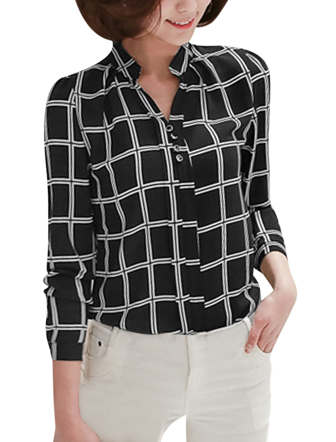 Women Long Sleeves Stand Collar Buttons Decor Plaids Blouse Black M
