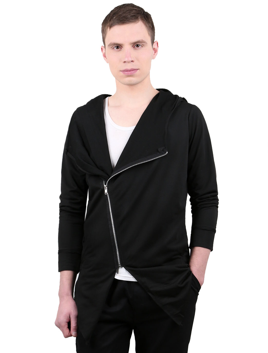 Men Inclined Zip Closed Long Sleeves Casual Hooded Cardigan Black S