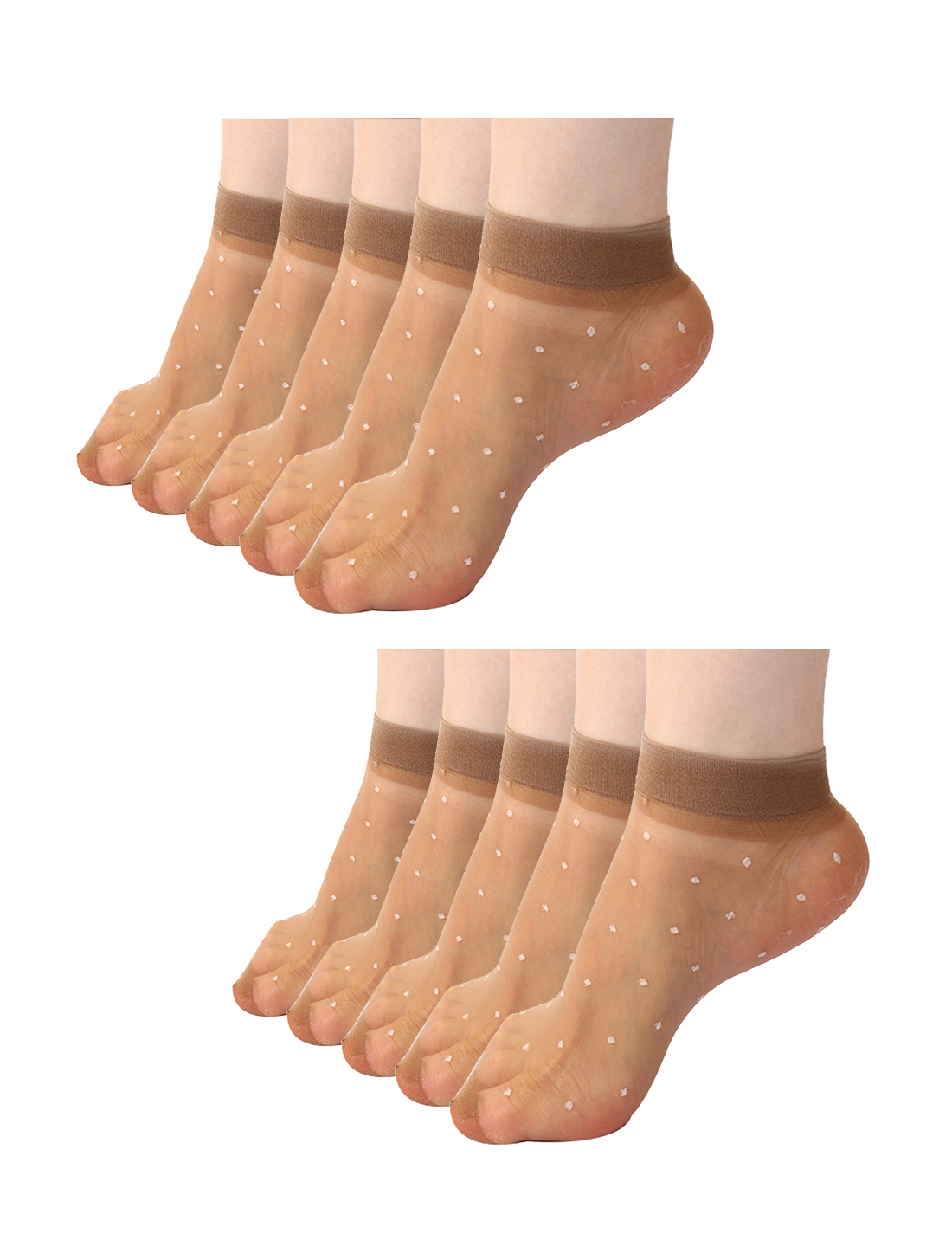 Women Dots Pattern Ankle Length Stretchy Sheer Socks 10 Pairs Brown