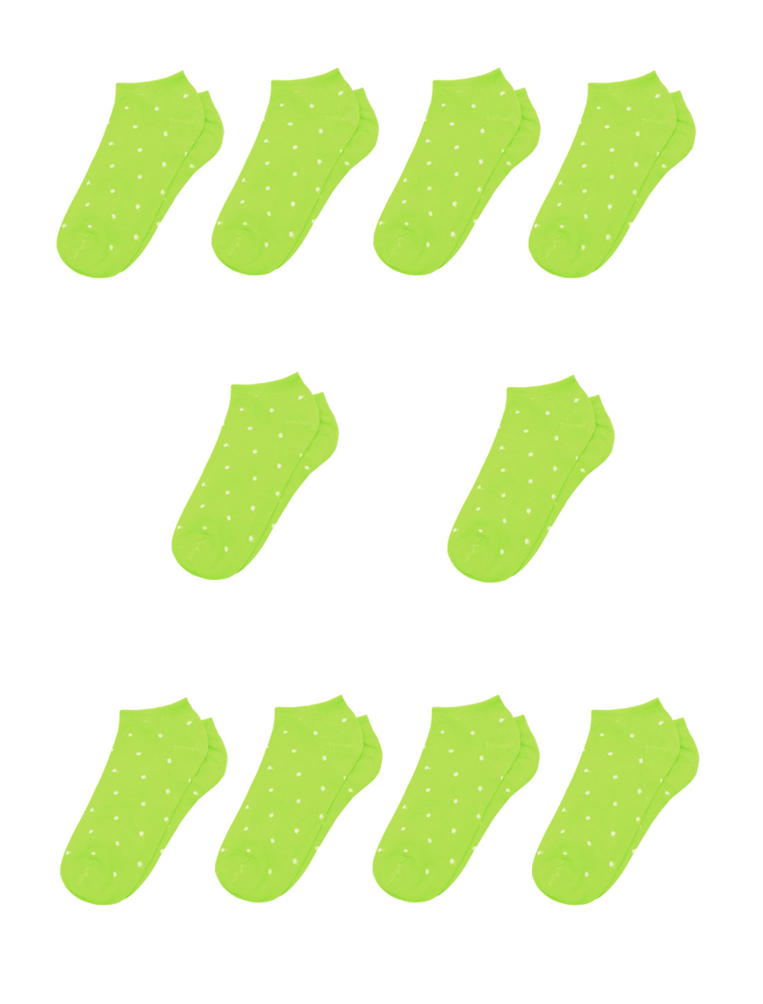 Lady Dots Pattern Stretchy Ankle Length Short Socks 10 Pairs Green