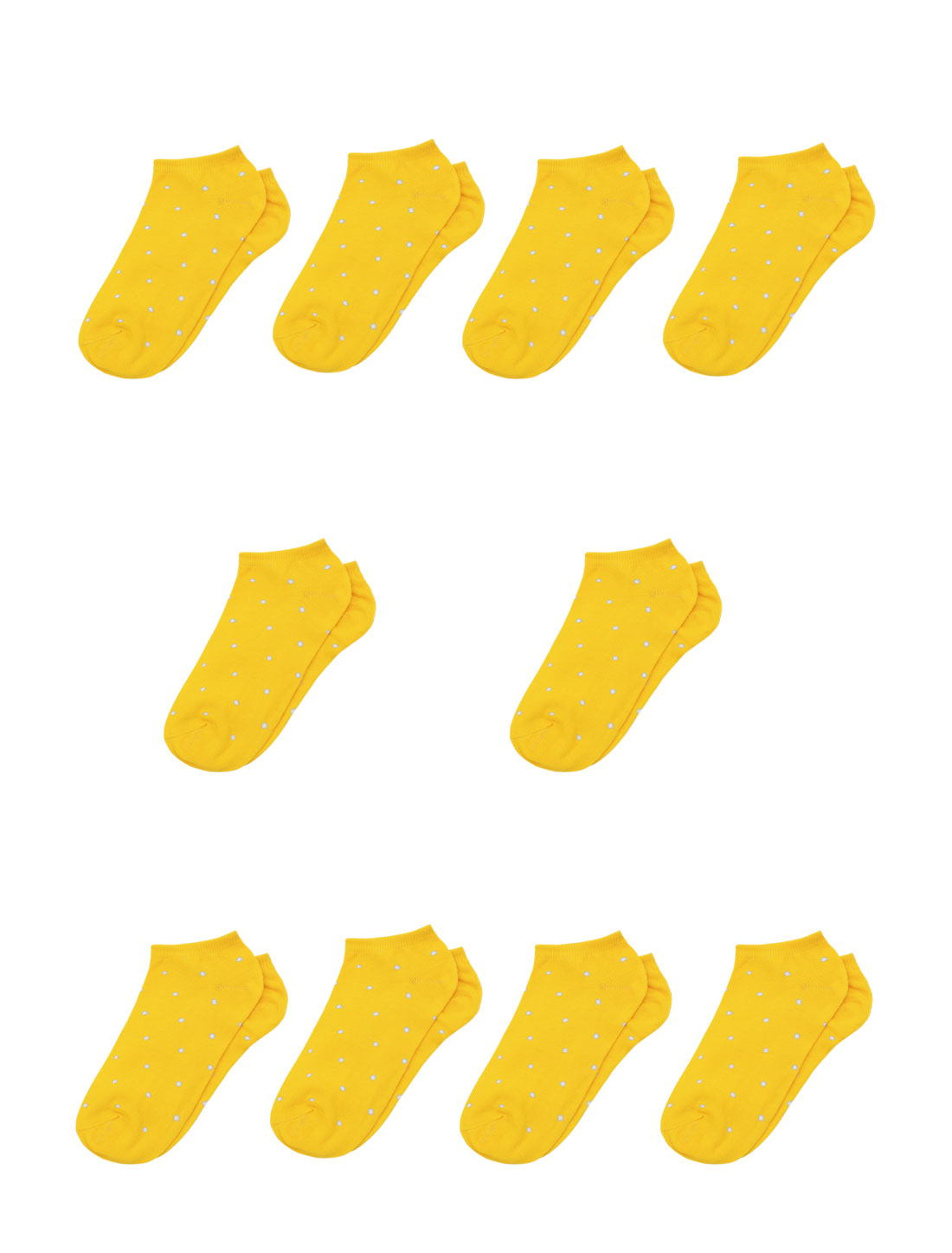 Lady Dots Pattern Stretchy Ankle Length Short Socks 10 Pairs Yellow