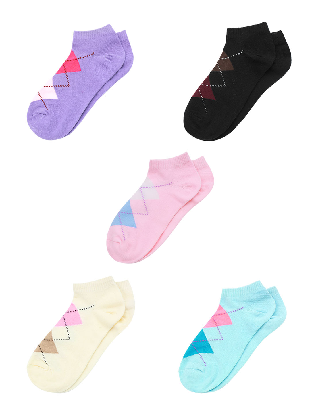 Women Argyle Pattern Stretchy Ankle Length Short Socks 5 Pairs Assorted Color