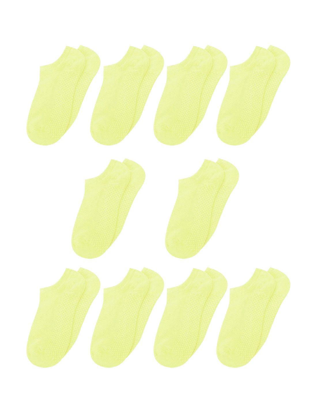 Women Low Cut Textured Sole Ankle Socks 10 Pairs Yellow