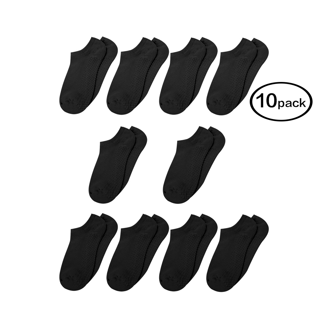Women Low Cut Textured Sole Ankle Socks 10 Pairs Black