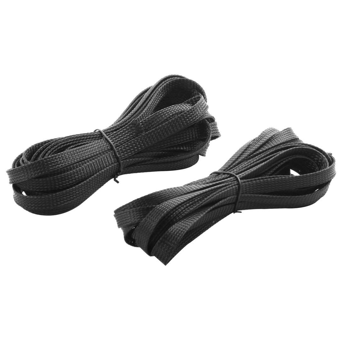 8 Meters Length 10mm Width PET Braided Expandable Sleeving Cable Harness 2 Pcs