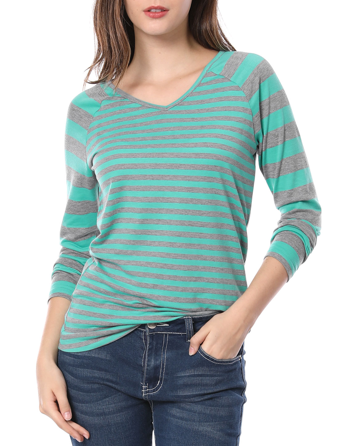 Women Striped Long Raglan Sleeves V Neck Top Green S