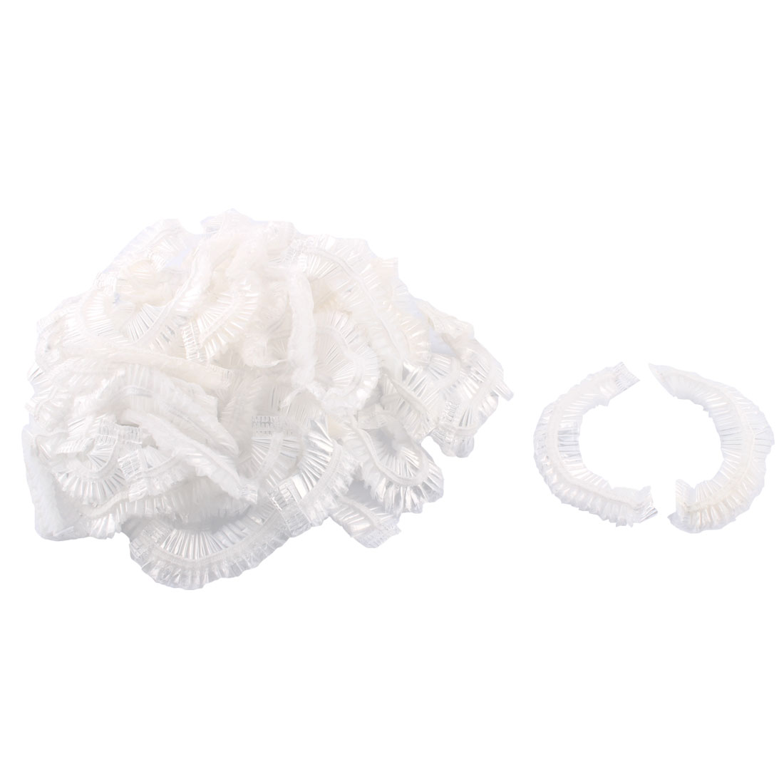 Plastic Elastic Bathroom Disposable Shower Bathing Cap Clear 50 Pcs