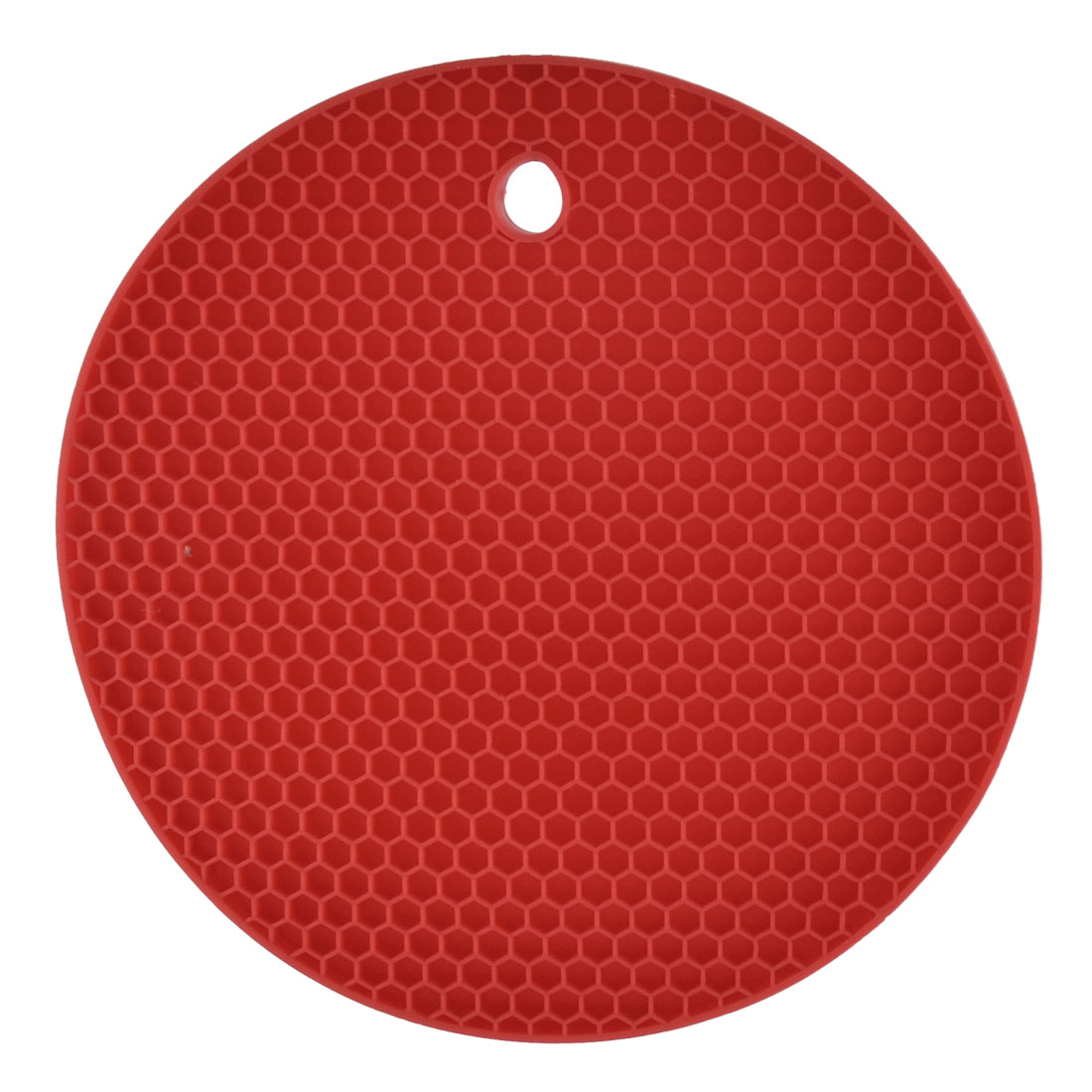 Kitchen Rubber Round Shaped Nonslip Heat Insulated Hot Pot Mat Pad Coaster Red