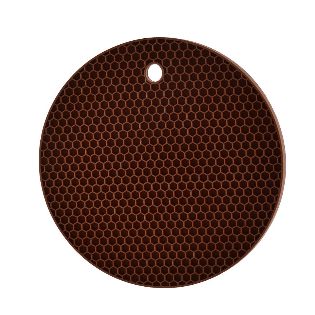 Kitchen Hot Pot Pan Bowl Round Shaped Heat Resistant Mat Pad Coaster Brown