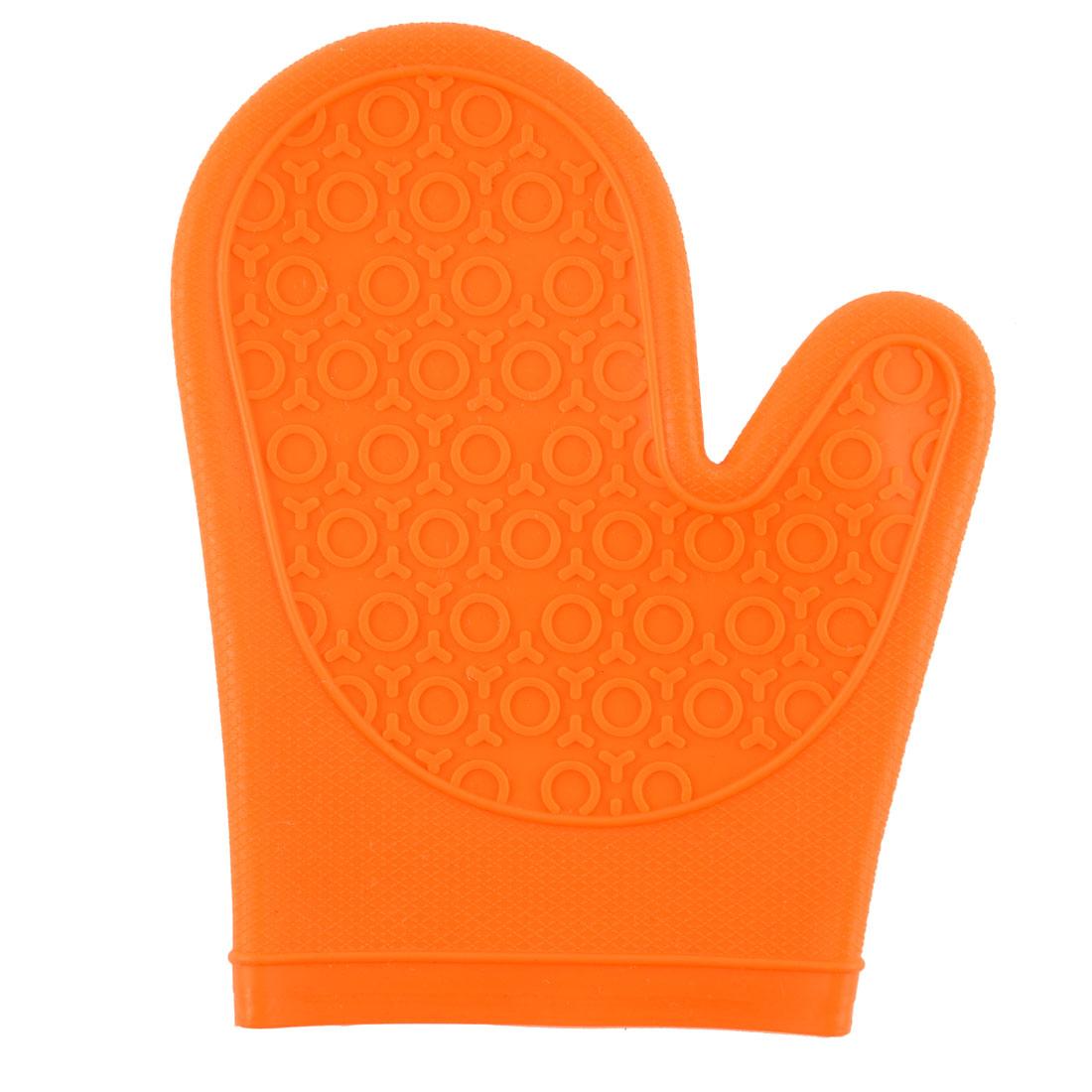 Household Silicone Heat Insulated Pot Holder Oven Mitt Glove Single Orange