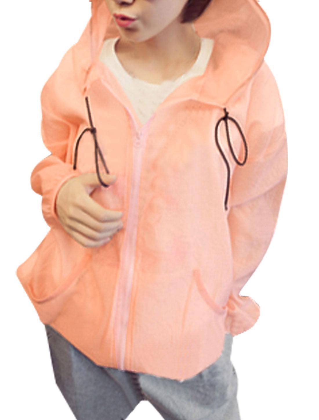 Women Drawstring Kangaroo Pockets Semi Sheer Hooded Jacket Pink XS