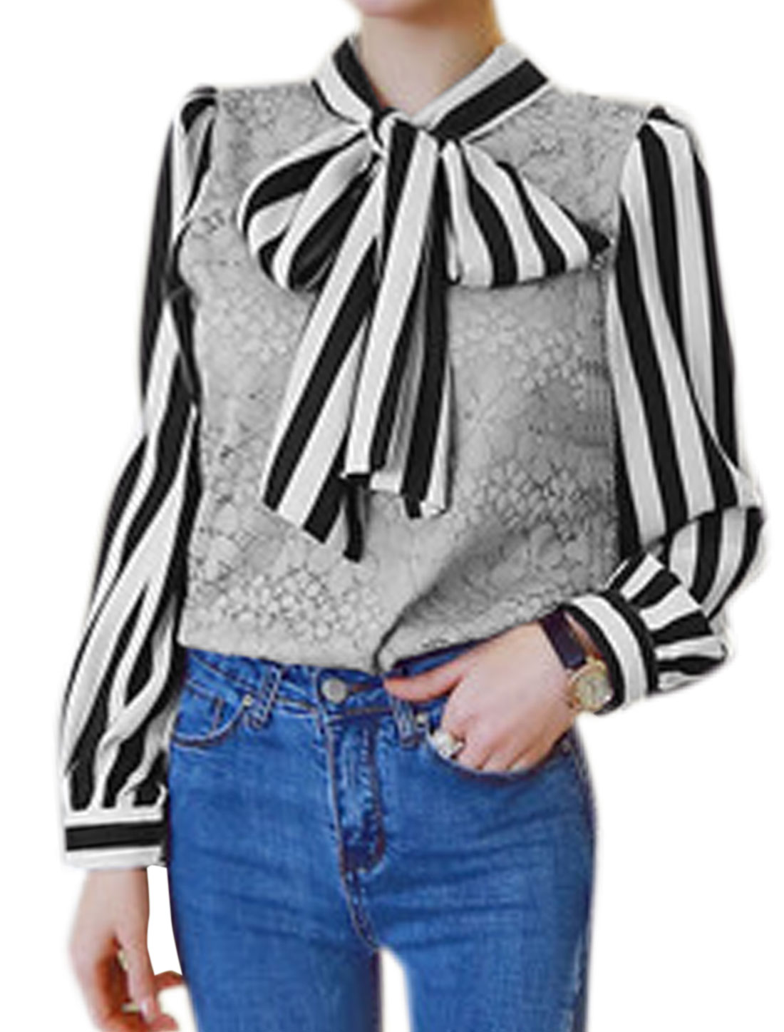 Women Pussy Bow Collar Stripes Paneled Floral Lace Blouse Gray XS