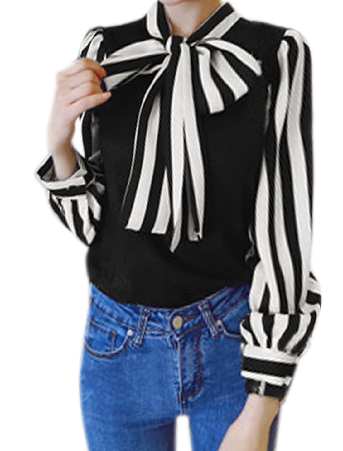 Women Pussy Bow Collar Stripes Paneled Floral Lace Blouse Black XS