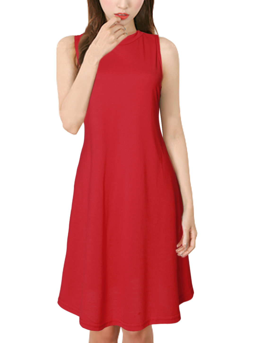 Women Crew Neck Sleeveless A Line Casual Skater Dress Red S
