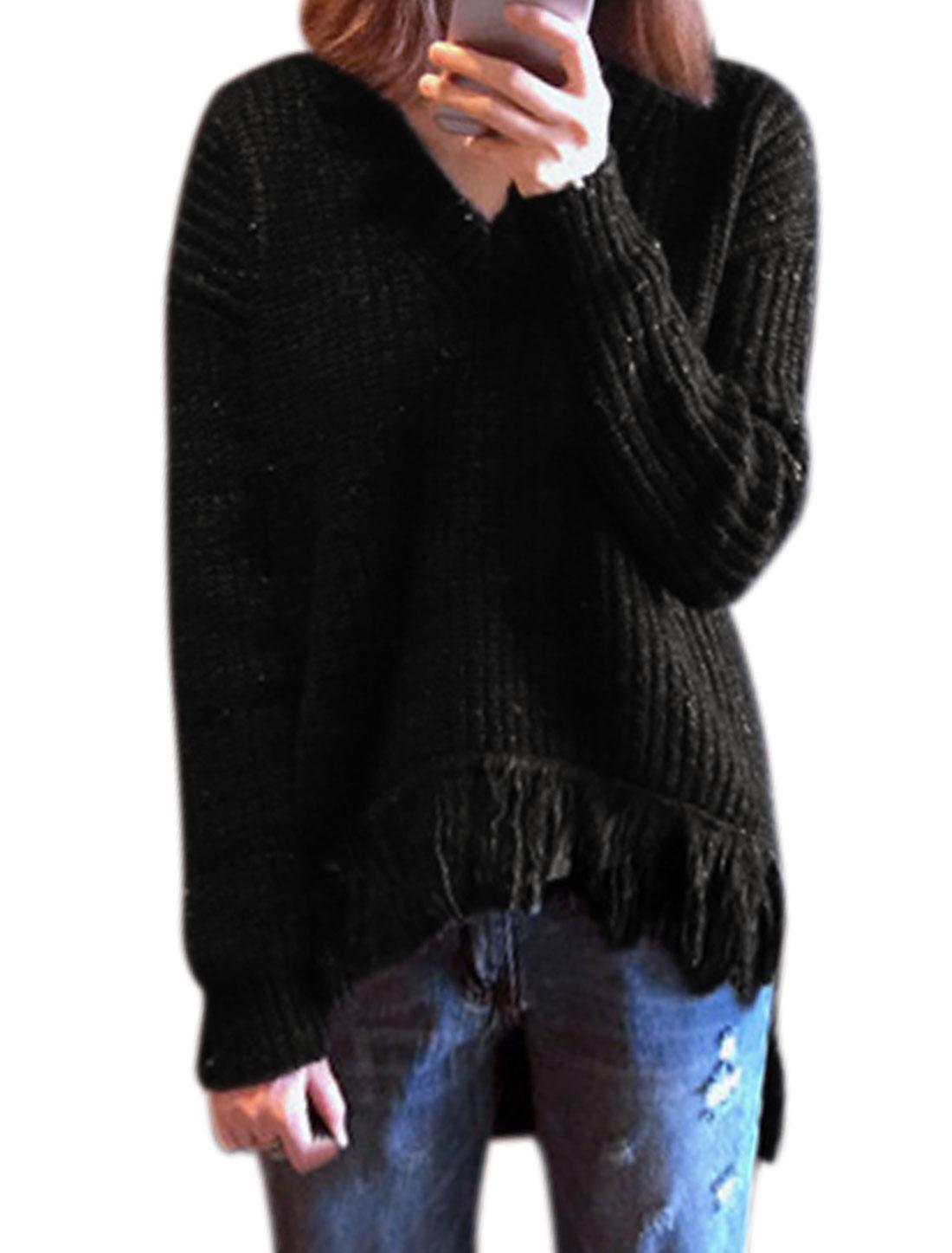 Women High Low Fringed Hem Novelty Loose Tunic Sweater Black XS
