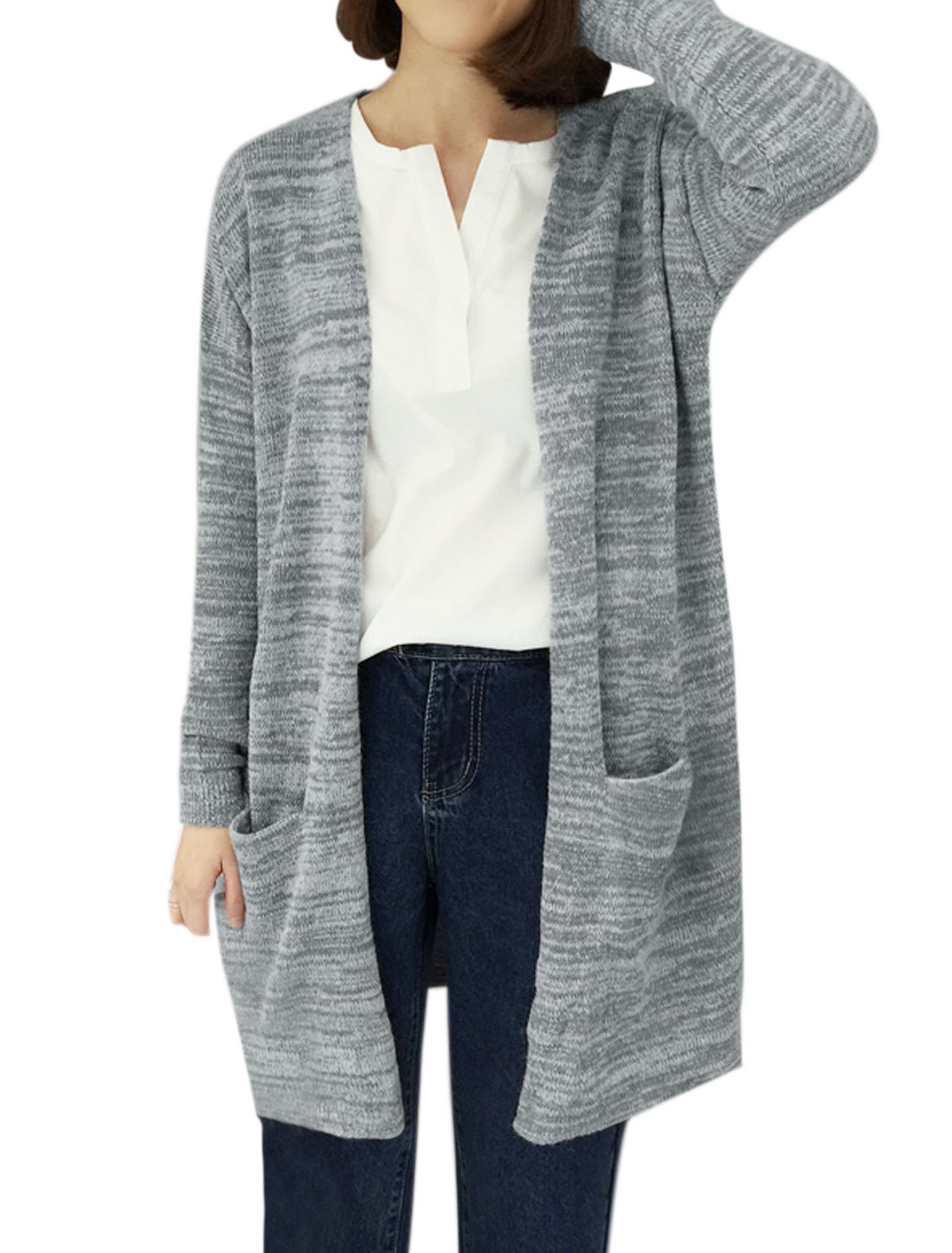Women Front Opening Two Pockets Tunic Sweater Cardigan Gray XS
