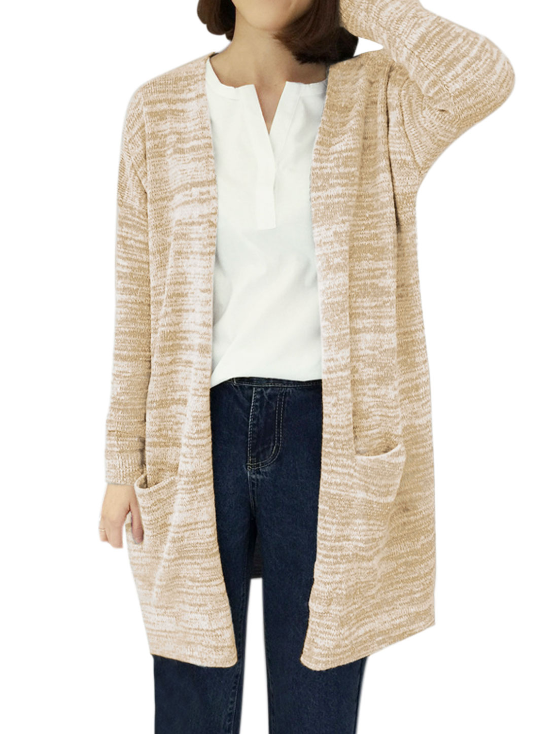 Women Front Opening Two Pockets Tunic Sweater Cardigan Beige XS