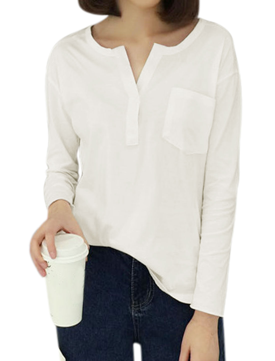 Women Long Sleeves Chest Pocket High Low Hem Split Neck Top White XS