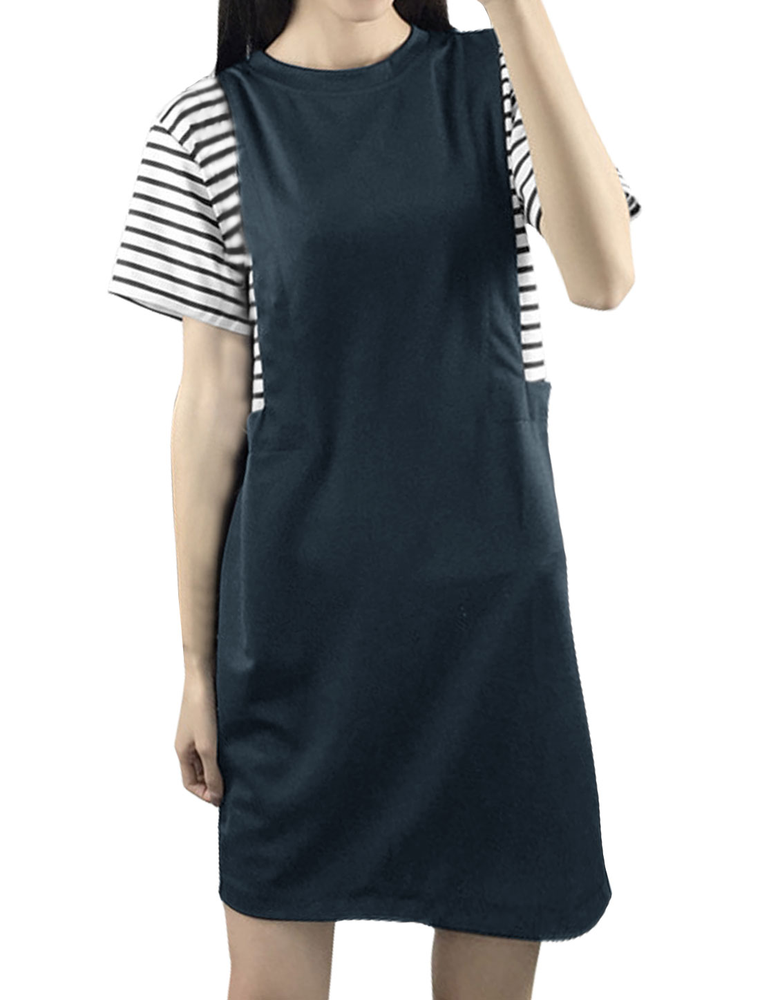 Women Short Sleeves Crew Neck Stripes Paneled Shift Dress Blue S