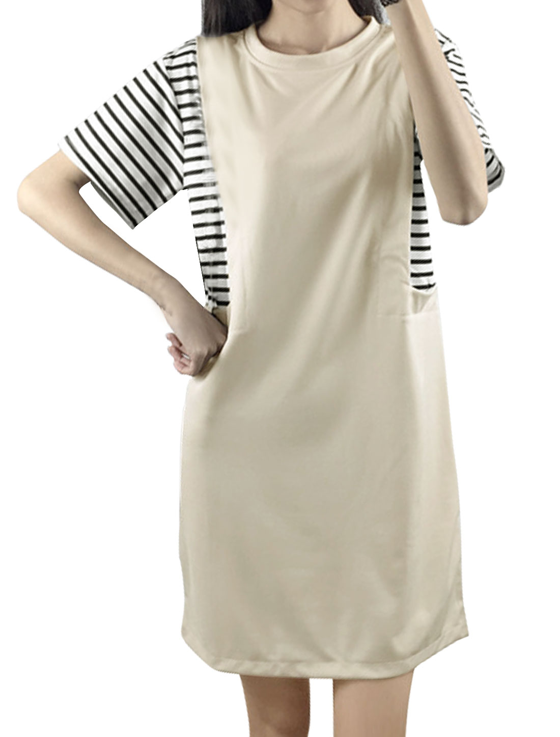 Women Short Sleeves Crew Neck Stripes Paneled Shift Dress Beige S