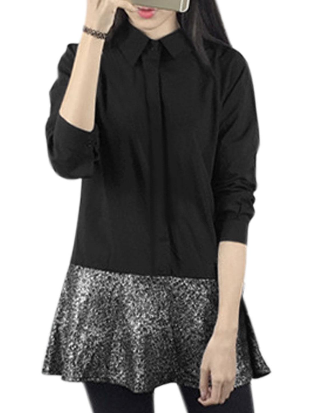 Women Hidden Placket Upper Shiny Panel Layered Tunic Shirt Dress Black XS