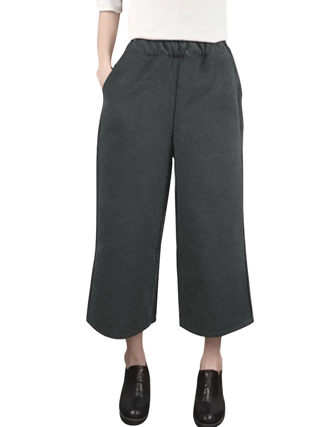 Women High Waist Wide Legs Worsted Cropped Pants Gray XS