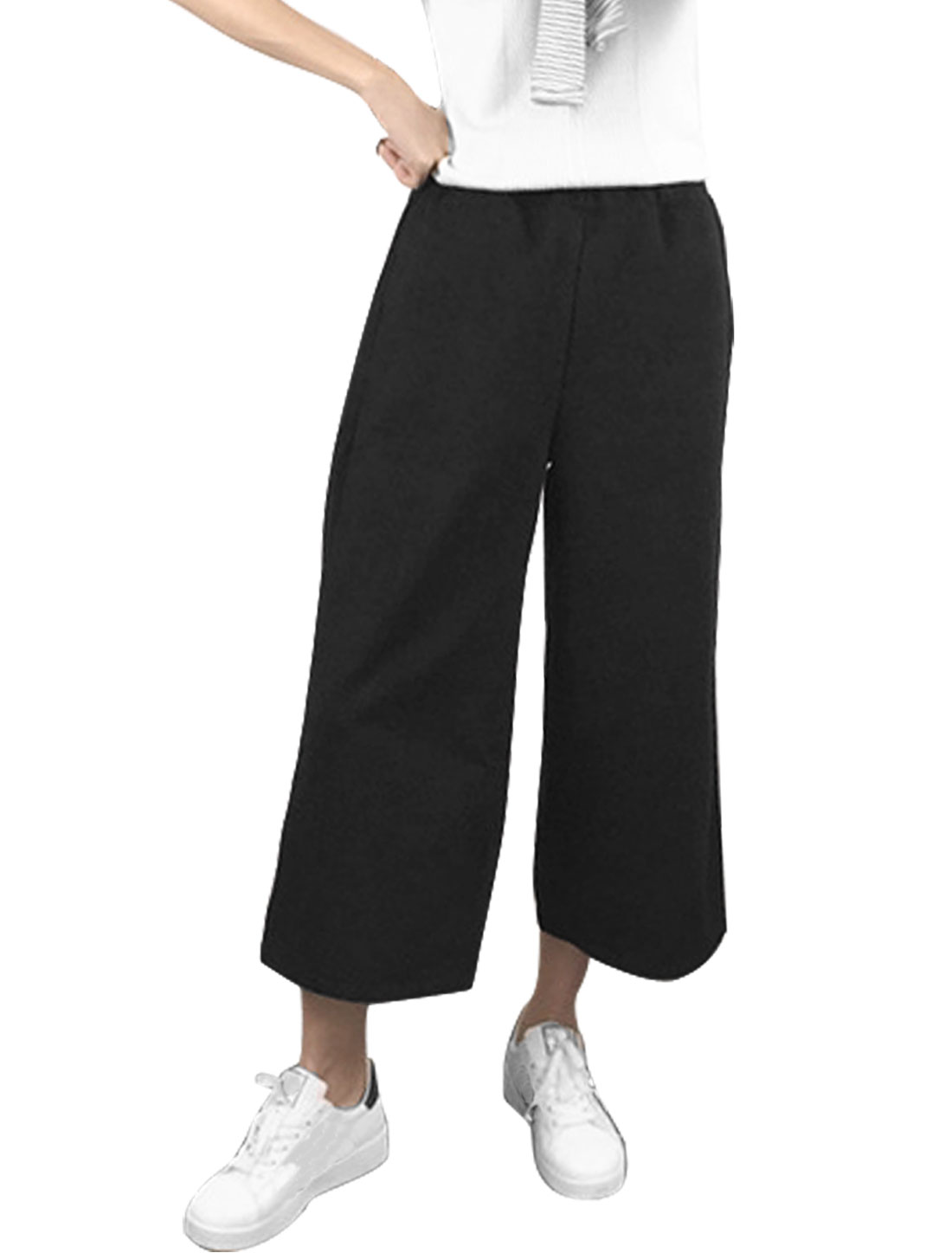 Women High Waist Wide Legs Worsted Cropped Pants Black XS