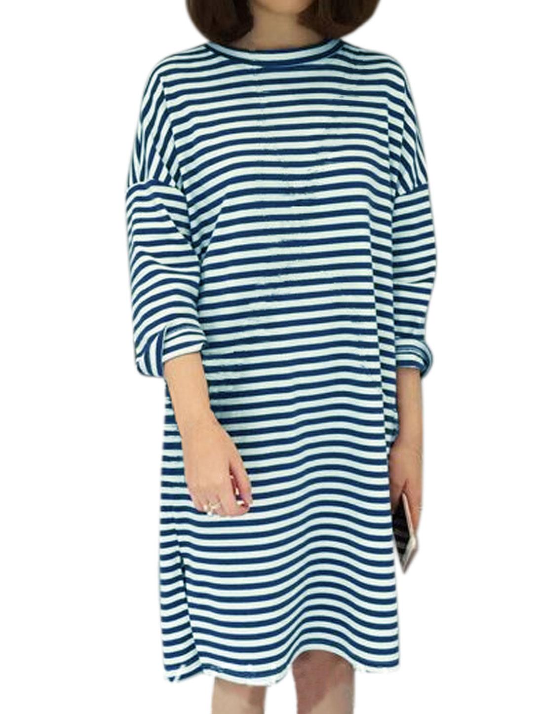 Women Round Neck Split Sides Loose Striped Dress Blue S