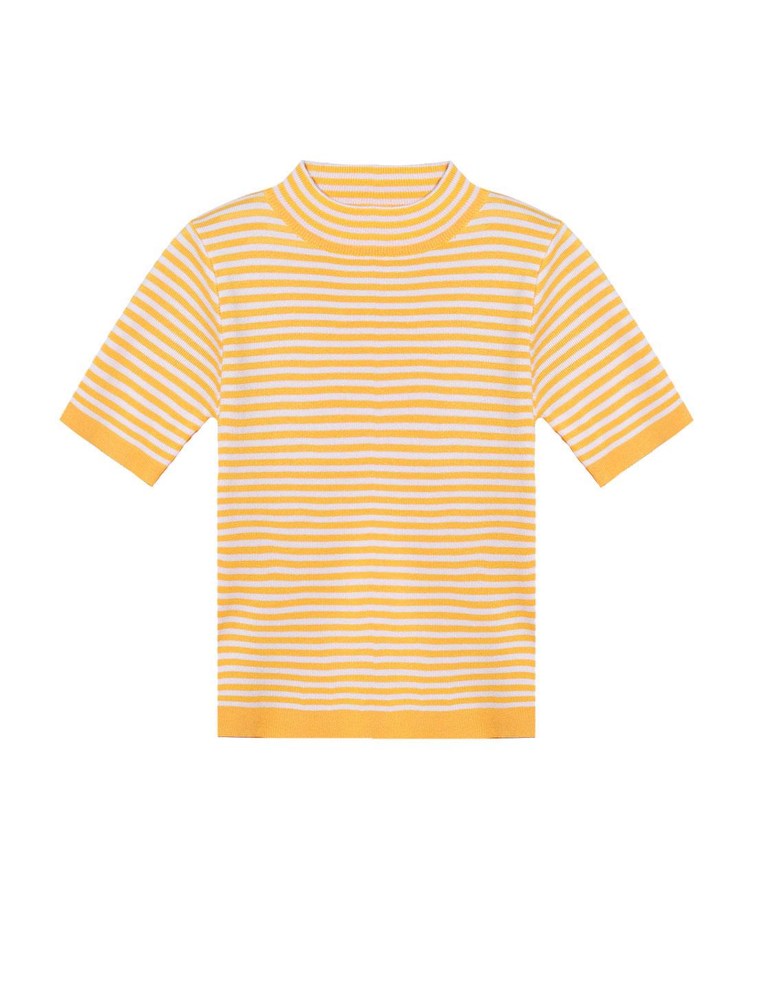Women Mock Neck Stripes Slim Fit Knit Shirt Yellow XS