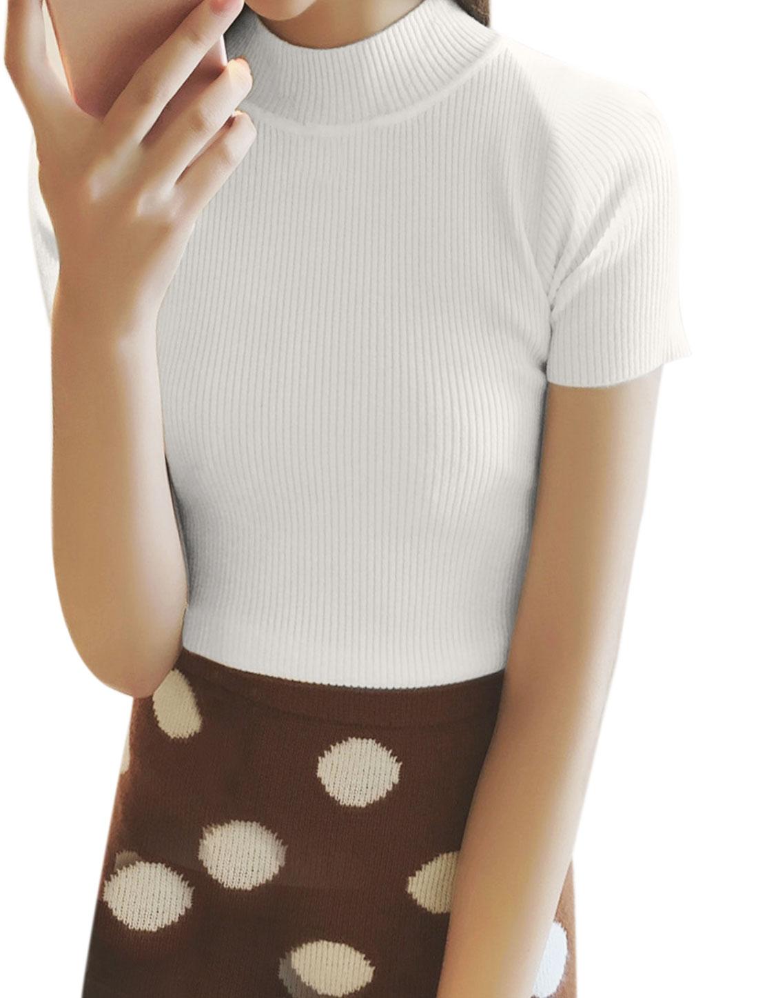 Women Mock Neck Ribbed Slim Fit Knit Shirt White XS