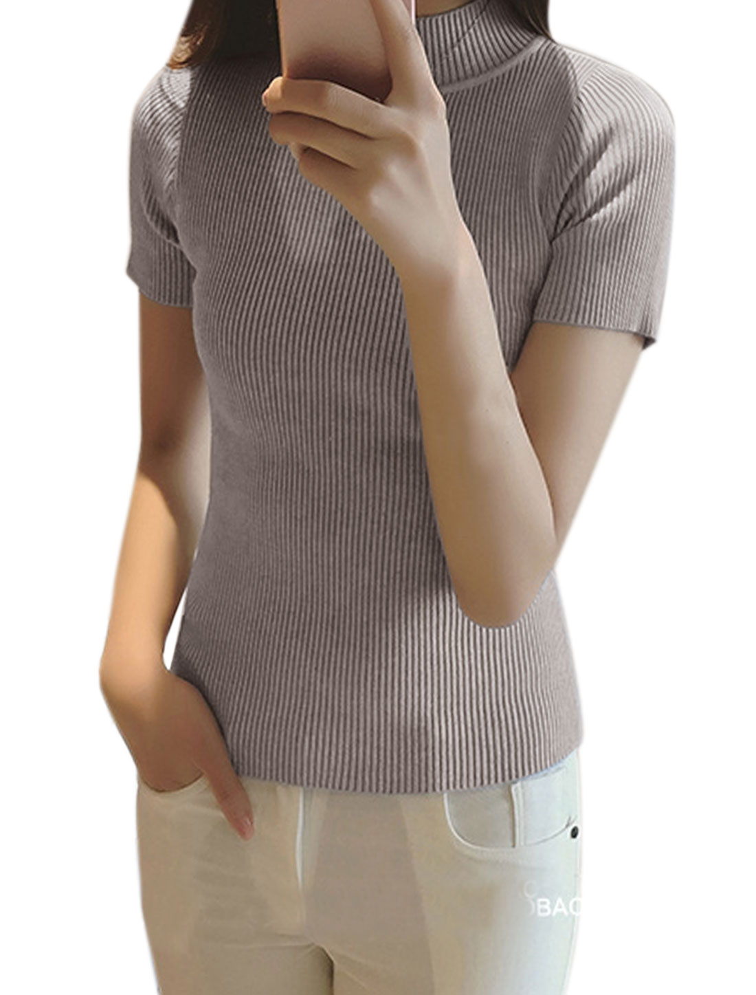 Women Mock Neck Ribbed Slim Fit Knit Shirt Gray XS