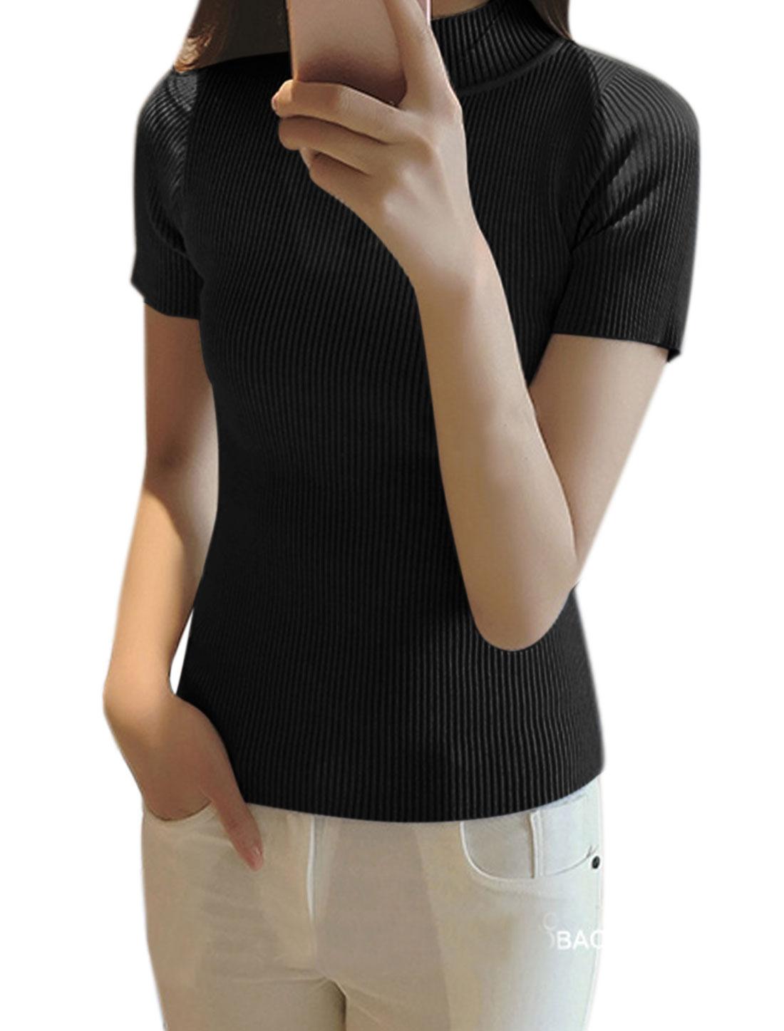 Women Mock Neck Ribbed Slim Fit Knit Shirt Black XS