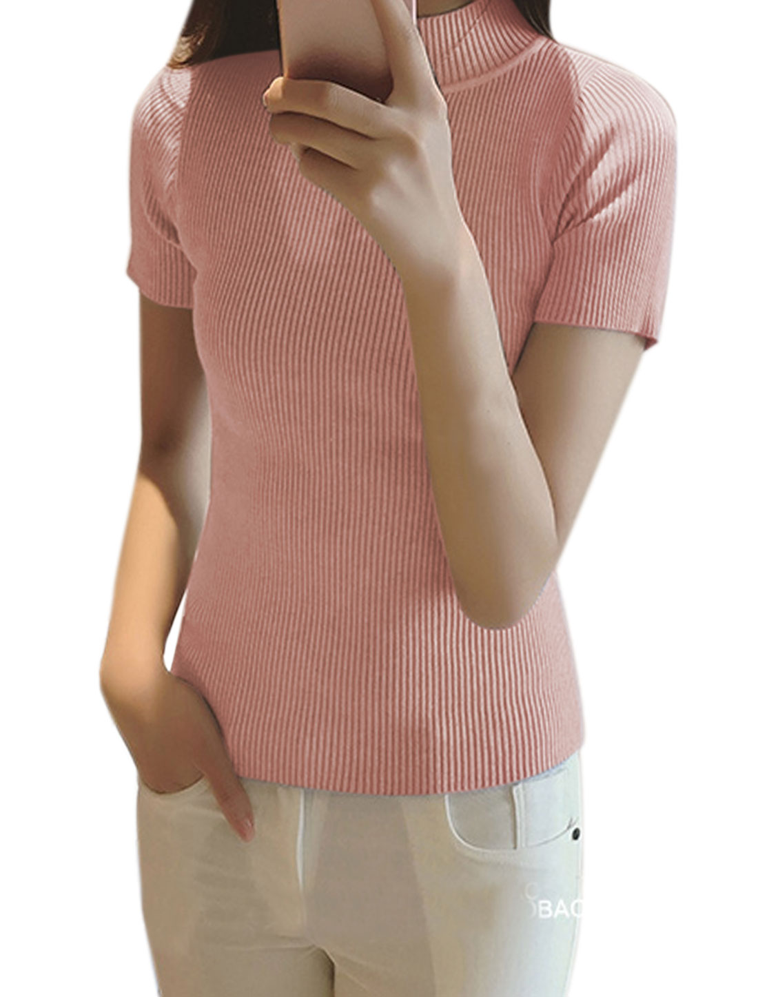 Women Mock Neck Ribbed Slim Fit Knit Shirt Pink XS