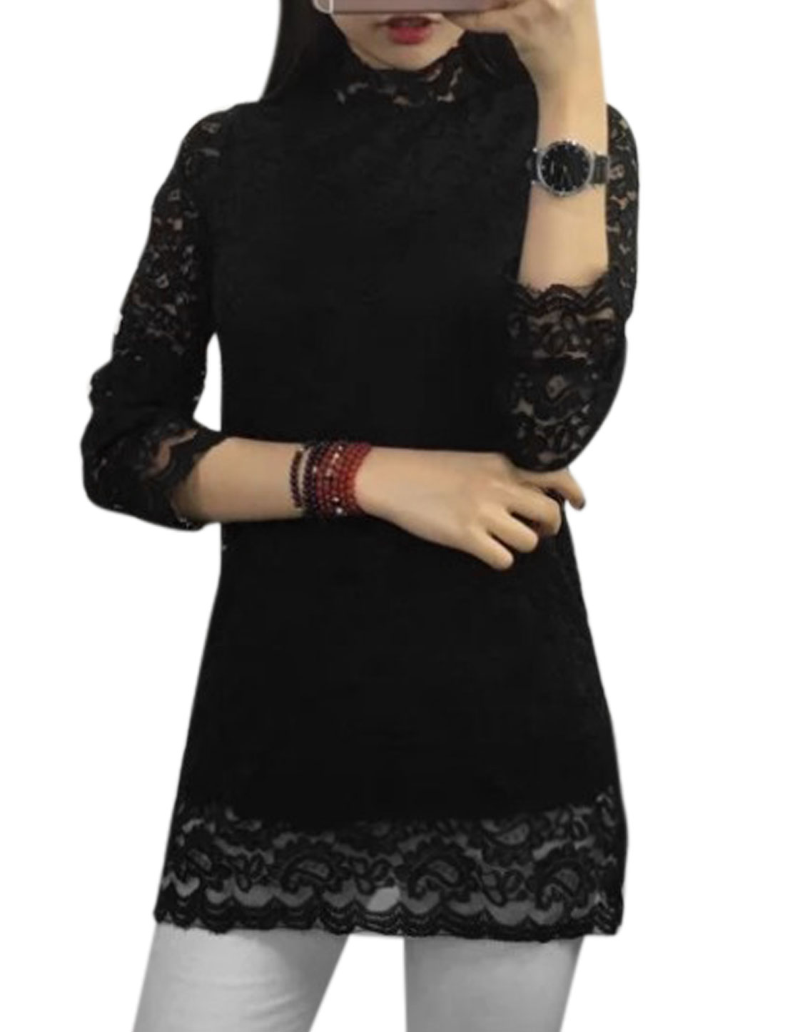 Women Mock Neck Semi Sheer Sleeves Lace Tunic Top Black XS