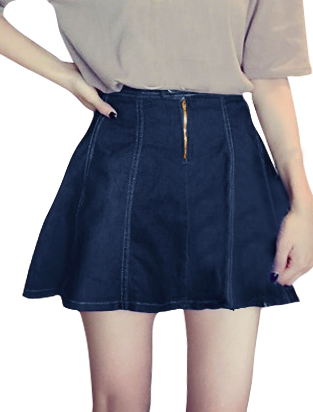 Women High Rise Zipper Closed A Line Mini Denim Skirt Blue XS