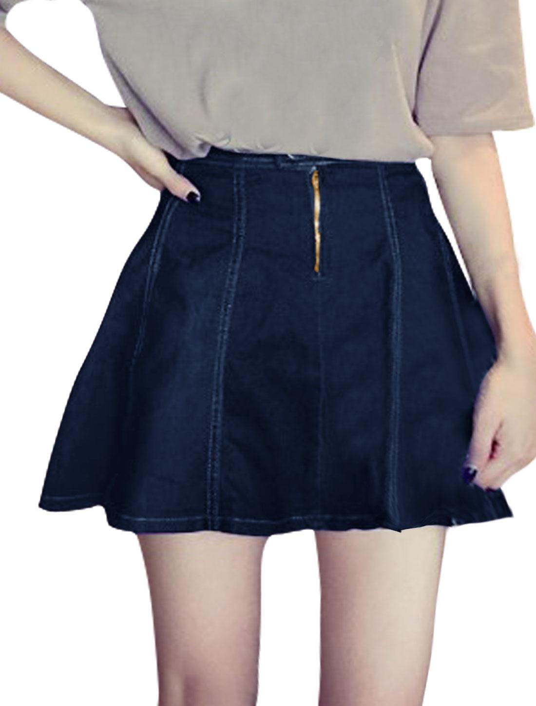 Women High Rise Zipper Closed A Line Mini Denim Skirt Blue M