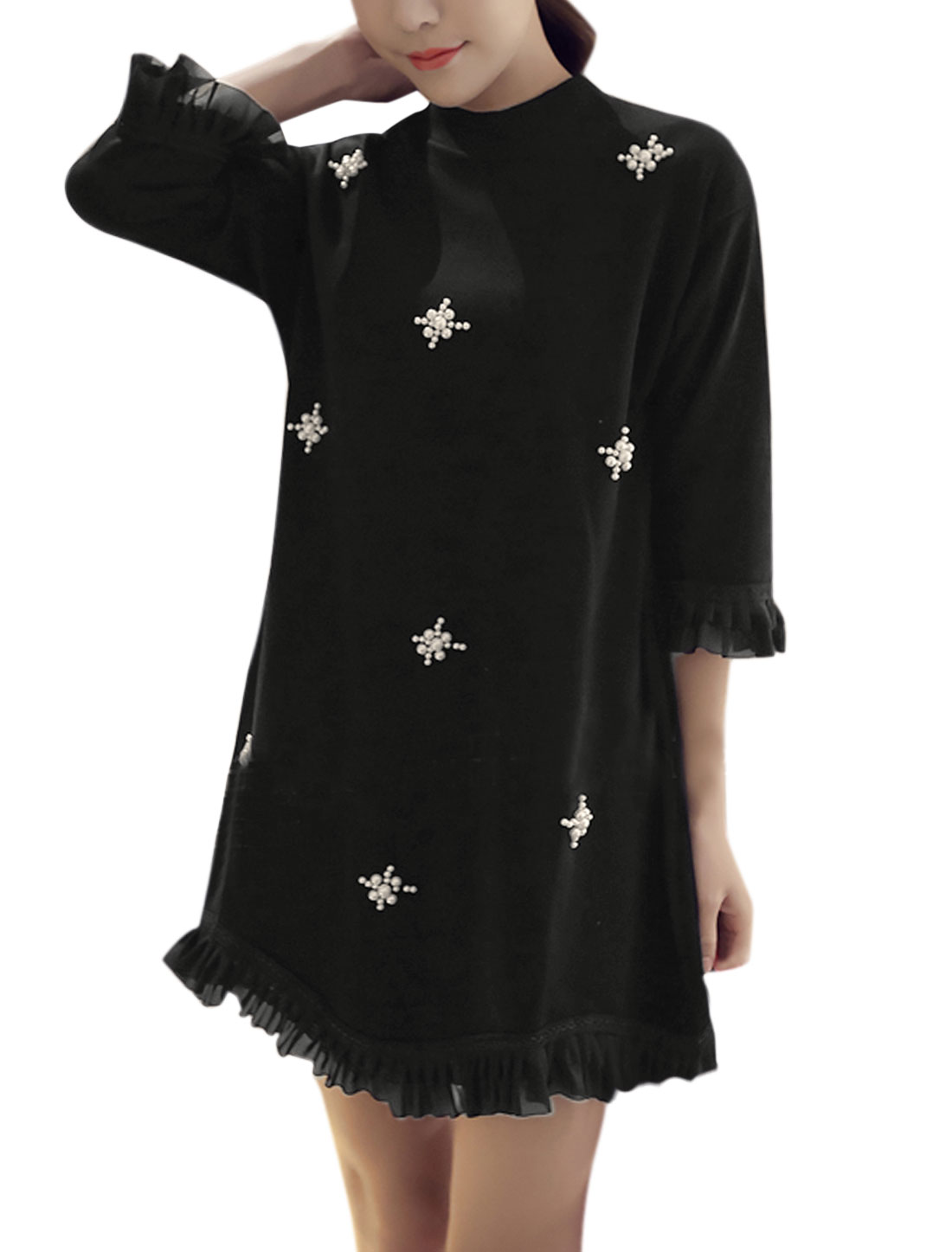 Women High Neck Ruffled Mesh Trim Beaded Tunic Dress Black XS