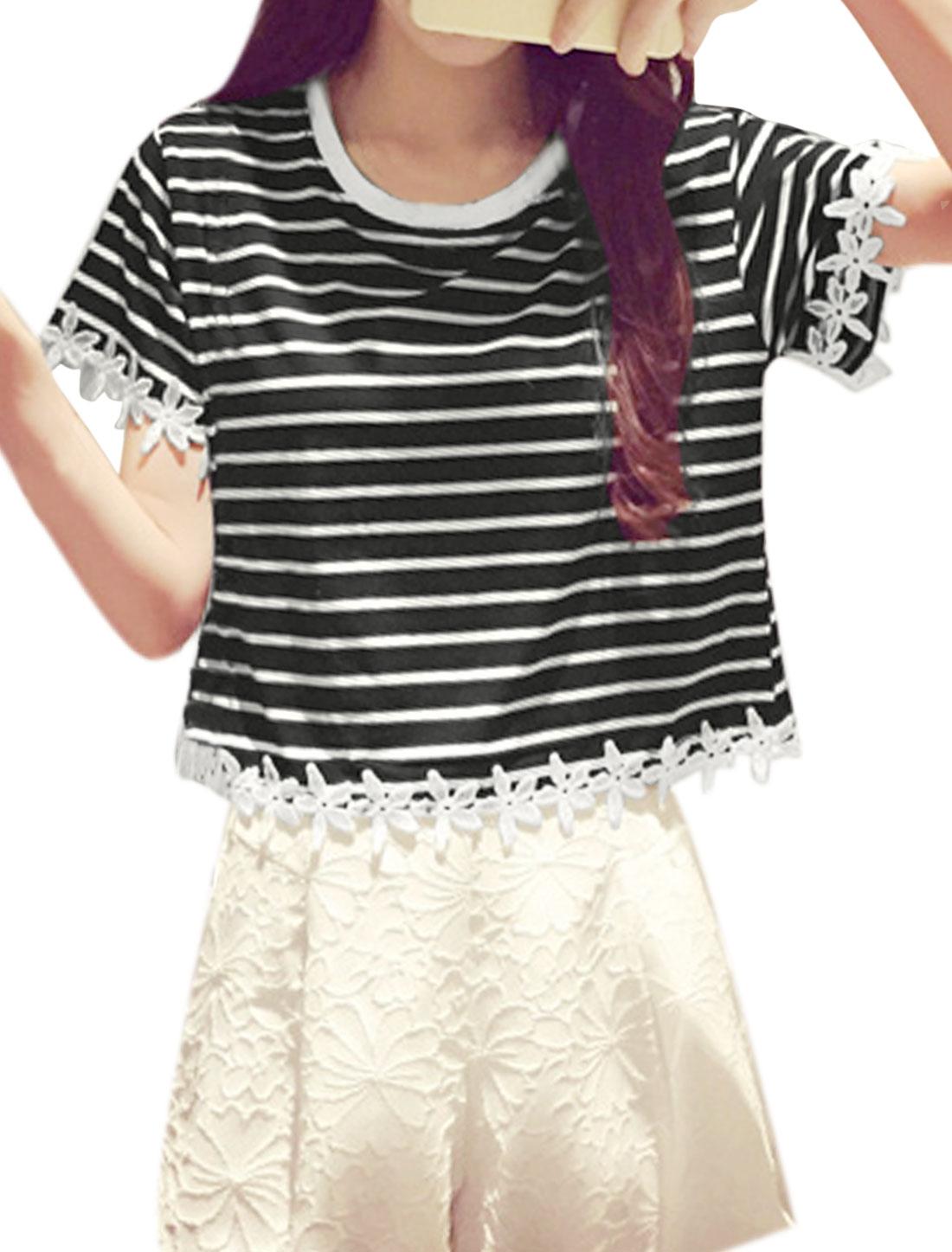 Women Round Neck Crochet Panel Stripes Boxy Top Black XS
