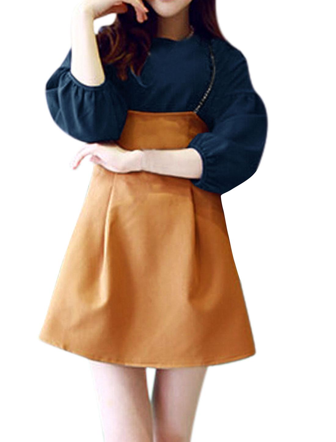 Women 3/4 Sleeves Top w Pleated Suspender Dress Sets Blue Brown S