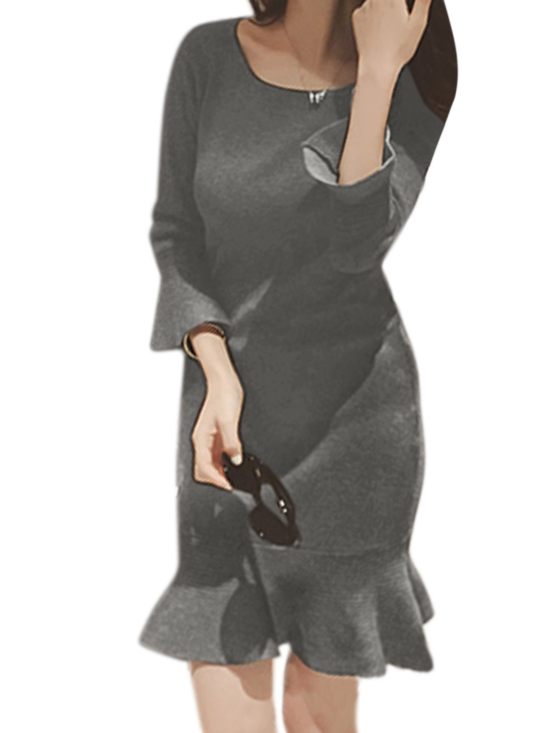 Women Round Neck Bracelet Sleeves Flouncing Hem Sheath Dress Gray XS