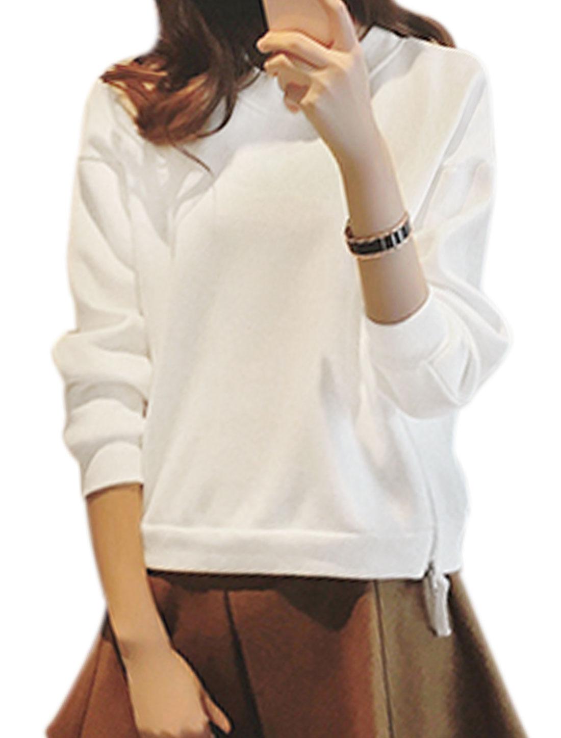 Women Rond Neck Soft Lined Zipper Sides Sweatshirt White XS