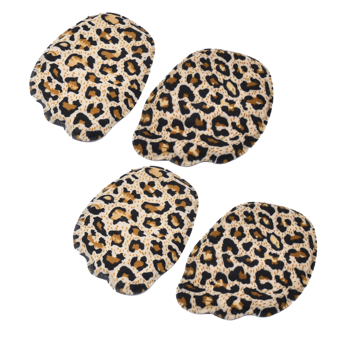 Lady Leopard Print Forefoot Front Half Insoles Shoes Pads Cushions 2 Pairs